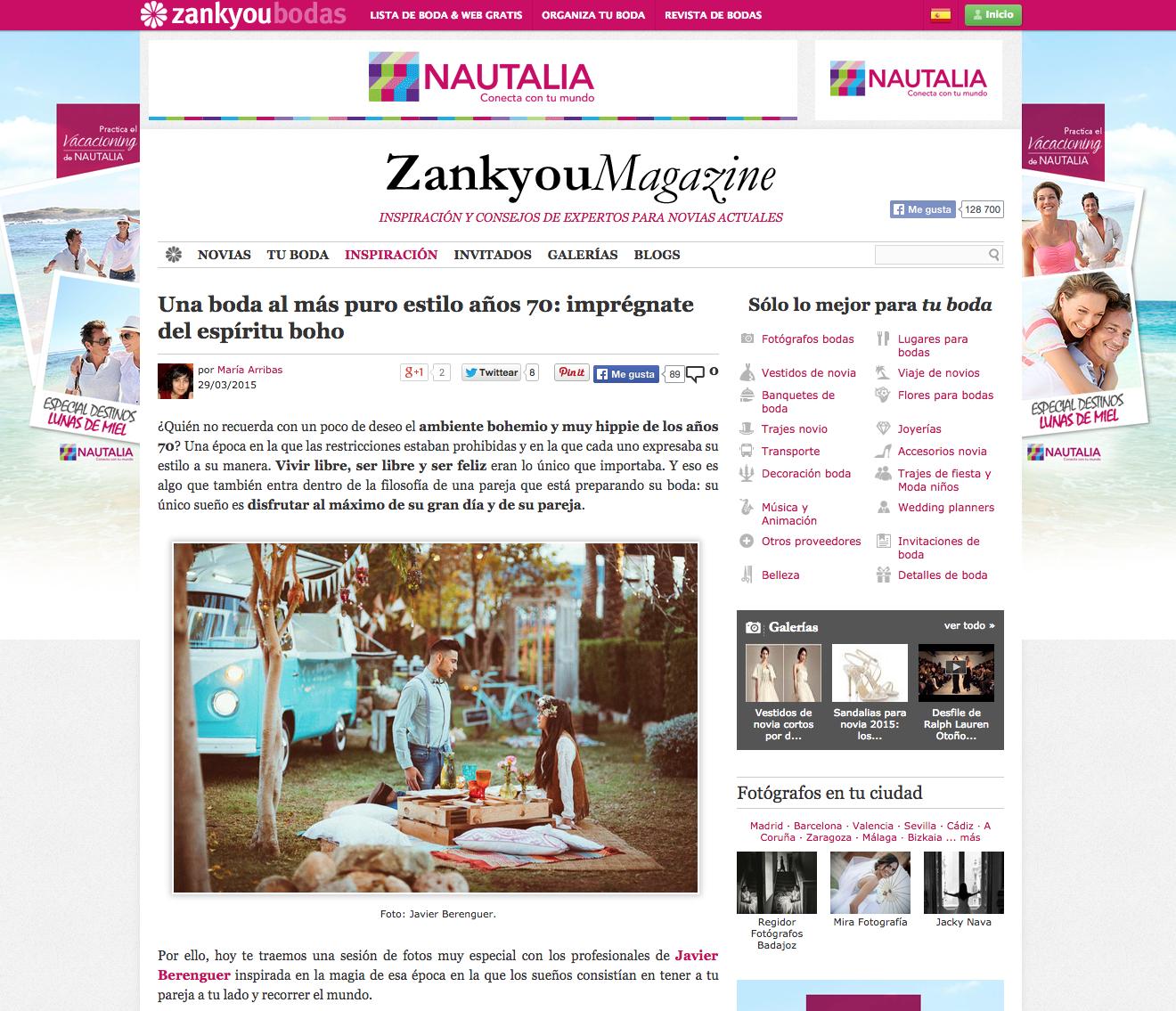Publicación en Zankyou Bodas Wedding Magazine