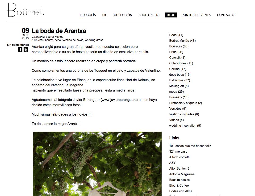 Publicación Bouret Atelier Alta Costura Novias