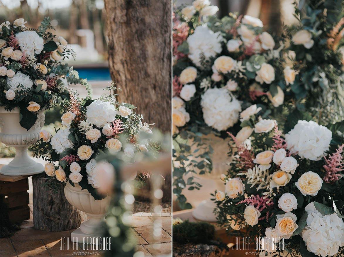 decoracion boda con hortensias y rosa austin