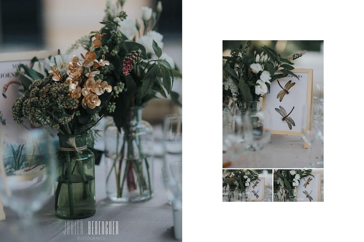 Centros de mesa con cristal y flor natural