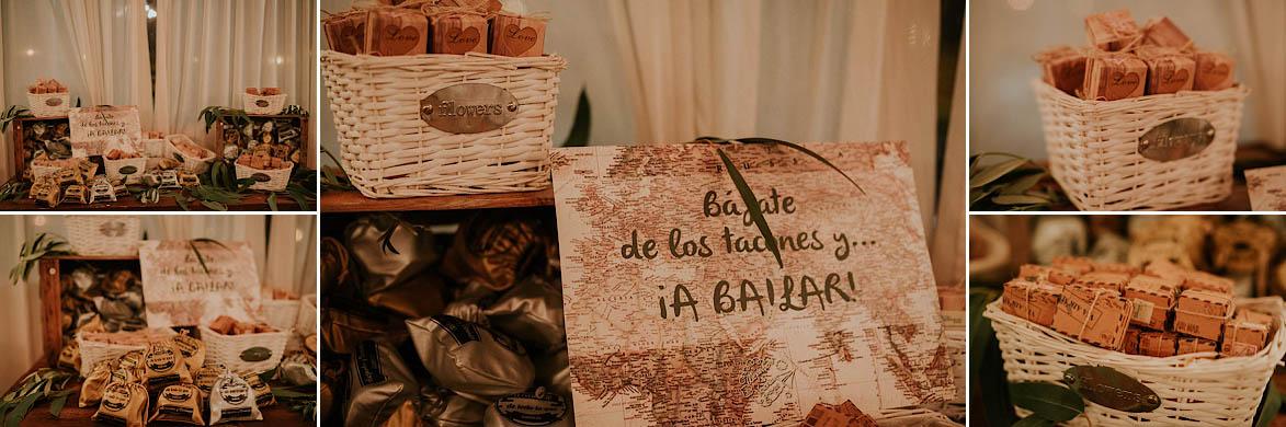 Mesa para zapatillas regalo en bodas